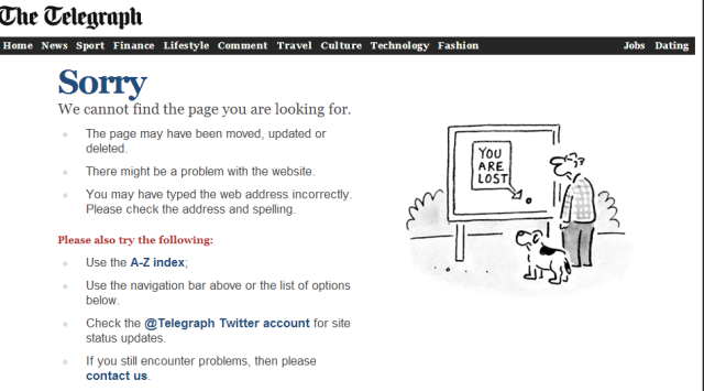 Telegraph   Error 404   Sorry  the page you have requested is not available